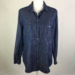 Loft the softened shirt denim chambray button up